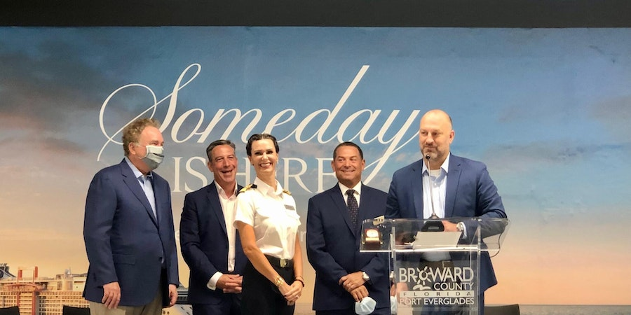Press conference, first cruise ship back in the U.S., Port Everglades, Celebrity Edge