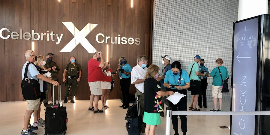 Passengers checking into Celebrity Edge in Port Everglades (Chris Gray Faust)