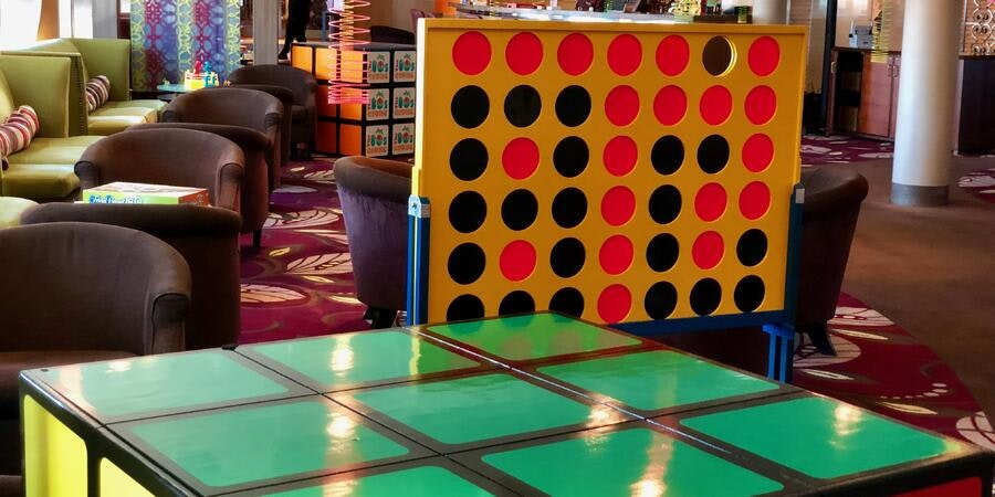 Giant retro board games on board the 2019 80's Cruise  (Photo: Cruise Gray Faust)