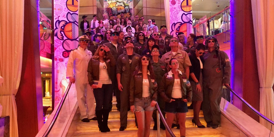 Top Gun themed group photo taken on the 2019 80's Cruise (Photo: Chris Gray Faust)