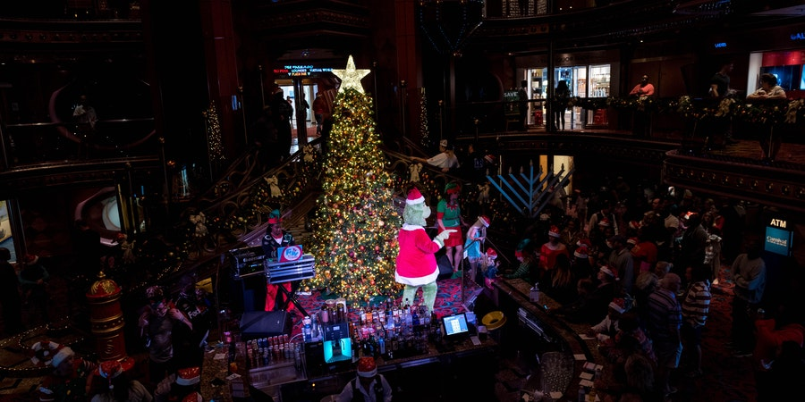 The Grinch Christmas Event in the Atrium on Carnival Elation (Photo: Cruise Critic)