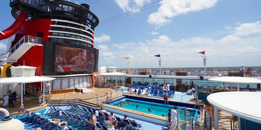 The outdoor movie screen at Goofy's Pool on Disney Magic (Photo: Cruise Critic)