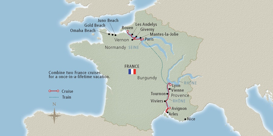 Travel map for a France river cruise package that traverses both the Seine and Rhone rivers. (Image: Viking River Cruises)