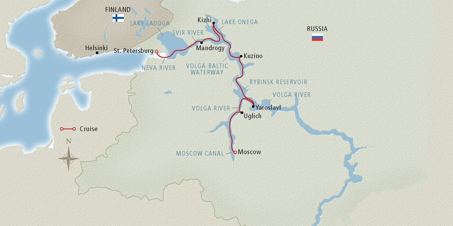 Map of a Volga River cruise route (Image: Viking River Cruises)