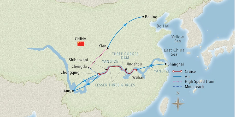 Map of a Yangtze River cruise route (Image: Viking River Cruises)