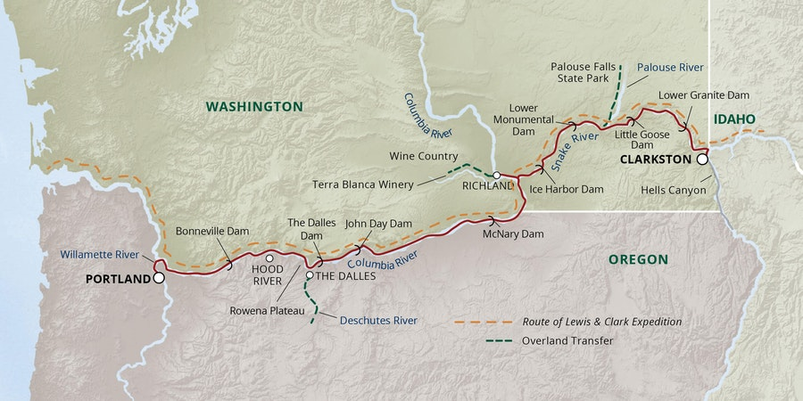 Columbia River Cruise Map