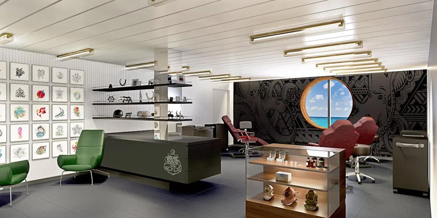 The Squid Ink Tattoo Studio on Scarlet Lady (Photo: Virgin Voyages)
