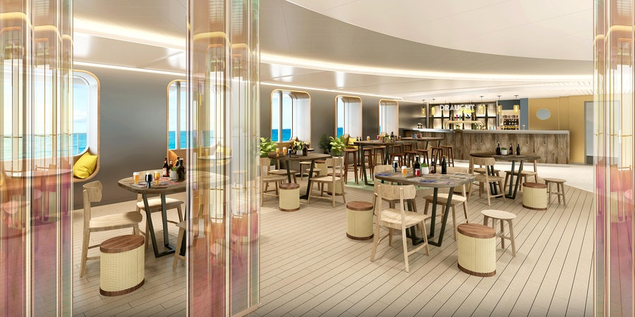 Artist rendering of Scarlet Lady's onboard tap room, Draught Haus. (Image: Virgin Voyages)