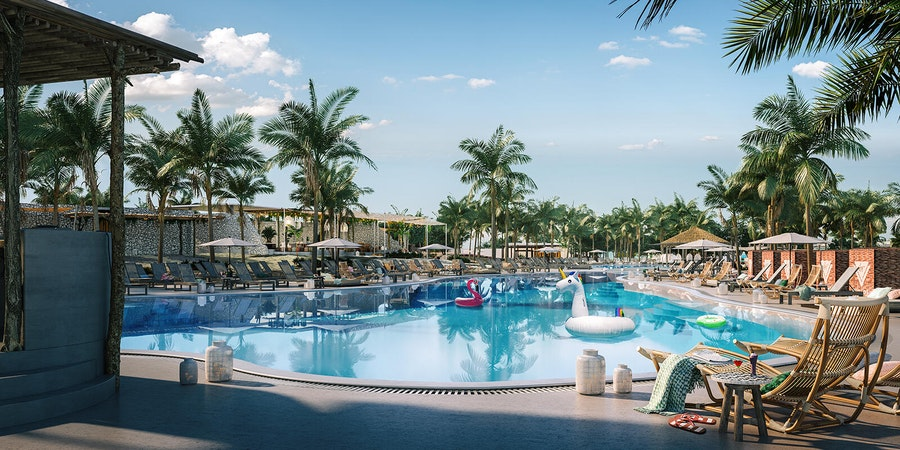 The lagoon style pool at Virgin Voyages' Beach Club at Bimini (Image: Virgin Voyages)