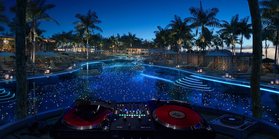 Poolside DJ booth at Virgin Voyages' Beach Club at Bimini (Image: Virgin Voyages)