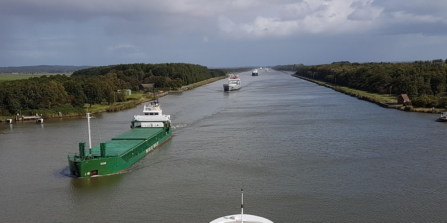 View of the Kiel Canal, Germany from Fred. Olsen's Boudicca (Photo: Donna Dailey)