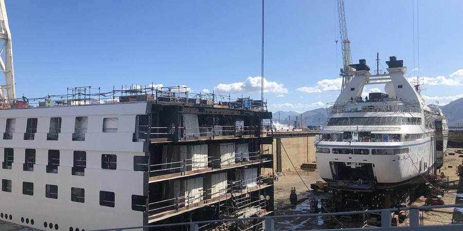 Windstar Cruises' Star Breeze is first to be dismantled as part of the line's stretching program. (Photo: Chris Gray Faust/Cruise Critic)
