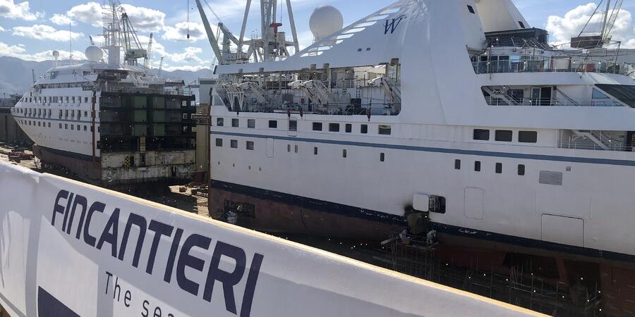 Star Breeze is sliced in two at the shipyard in Sicily. (Photo: Chris Gray Faust/Cruise Critic)