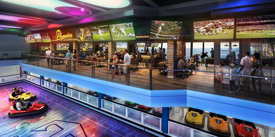 Playmakers Sports Bar & Arcade in the SeaPlex on Odyssey of the Seas (Image: Royal Caribbean)