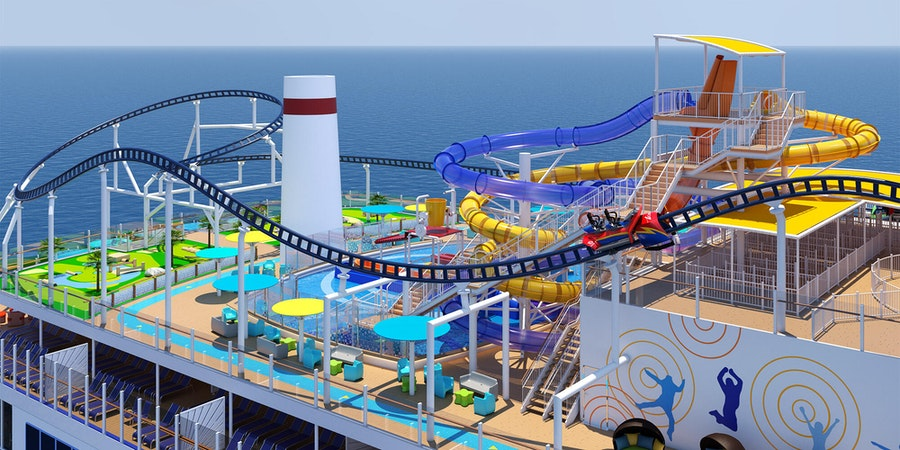 Carnival Mardi Gras will feature Bolt, a coaster ride suspended over the top deck of Carnival Mardi Gras (Image: Carnival Cruise Line)