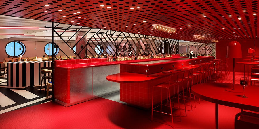 Razzle Dazzle Red Bar (Image: Virgin Voyages)