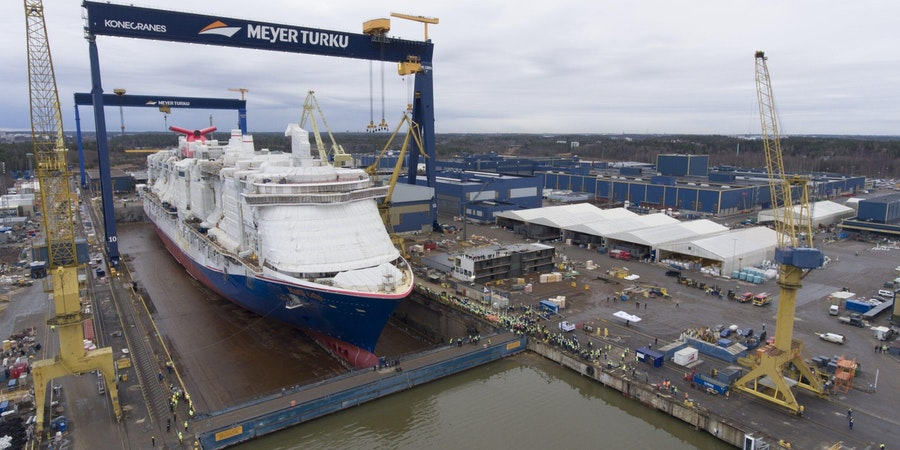 Carnival Cruise Line's Mardi Gras Floated Out at Meyer Turku (Photo: Carnival Cruise Line)
