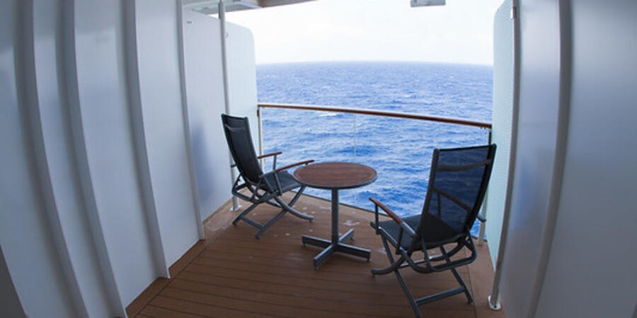 The angled balcony cabin on a Celebrity's Solstice-class ship (Photo: kimcheeboy/Cruise Critic member)