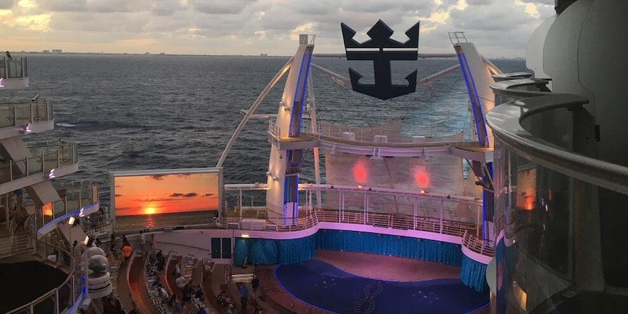 View of the AquaTheater from a balcony cabin on Allure of the Seas (Photo: cruiseaddict555/Cruise Critic member)