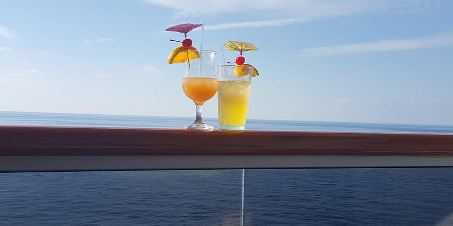 Balcony drinks on Carnival Valor (Photo: Wiley63/Cruise Critic member)