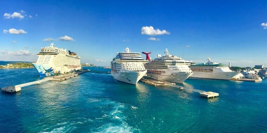 Cruise ships in Nassau, as seen from a balcony cabin on Norwegian Epic (Photo: tartist/Cruise Critic member)
