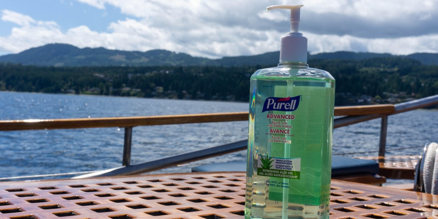Hand sanitizer on Passing Cloud (Photo: Aaron Saunders/Cruise Critic)