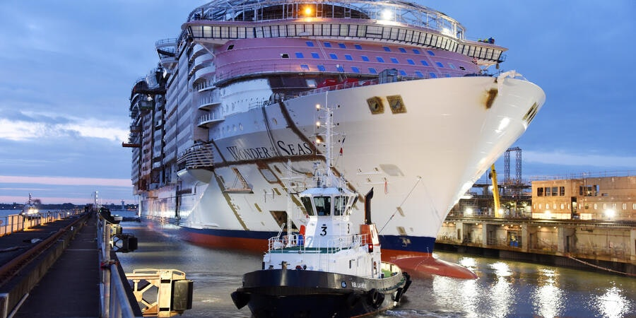 Royal Caribbean's Wonder of the Seas Cruise Ship Floated Out From Shipyard