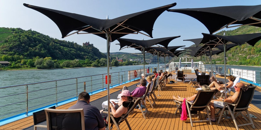 Passengers castle watching from sun deck on AmaKristina (Photo: Franz Neumeier/Cruise Critic Contributor)