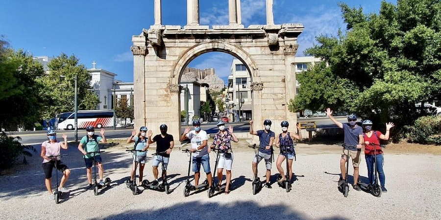 Passengers on an e-scooter tour in Athens (Photo: Miaminice/Cruise Critic member)