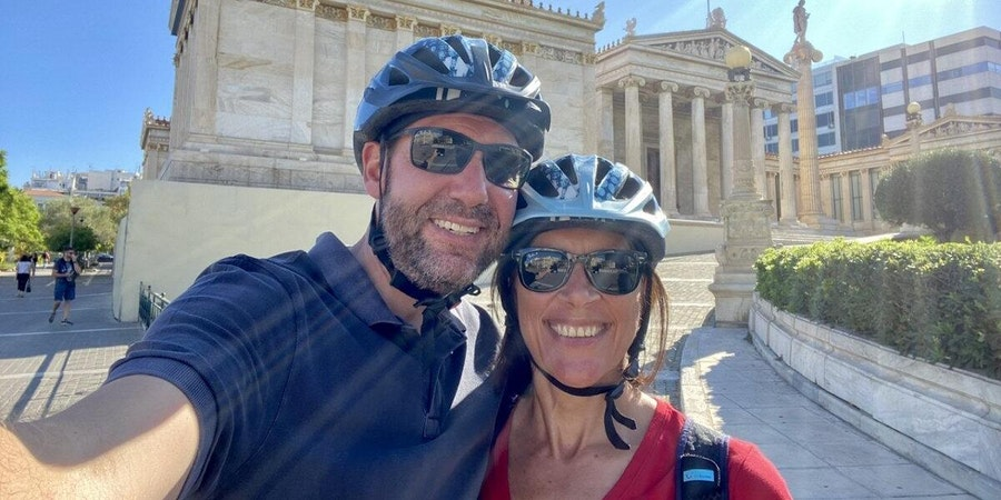 Cruise Critic member Miaminice and his wife take off their masks to pose for a selfie on an e-scooter tour in Athens (Photo: Miaminice/Cruise Critic member)