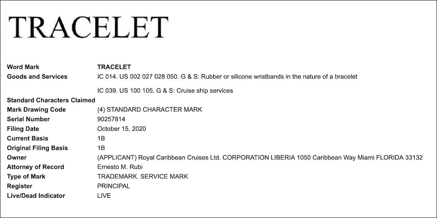 Tracelet patent application