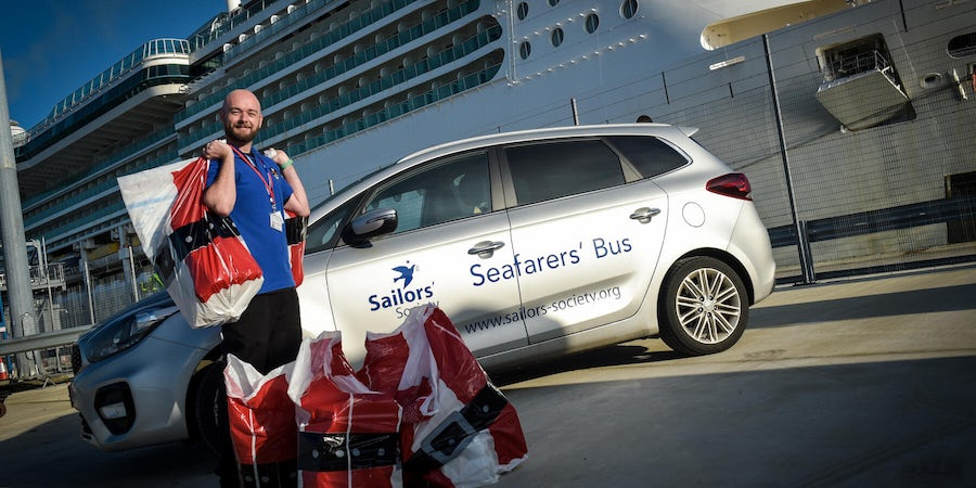 Santa of the Seas Delivers Christmas Gifts to Cruise Ships Moored Off The UK Coast