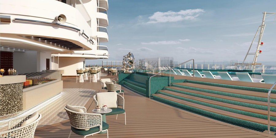 The Infinity Pool and Cafe Deck on MSC Seashore (Image: MSC Cruises)