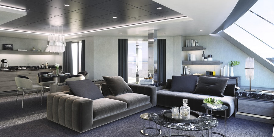 The MSC Yacht Club Owner's Suite Living Area on MSC Seashore (Image: MSC Cruises)