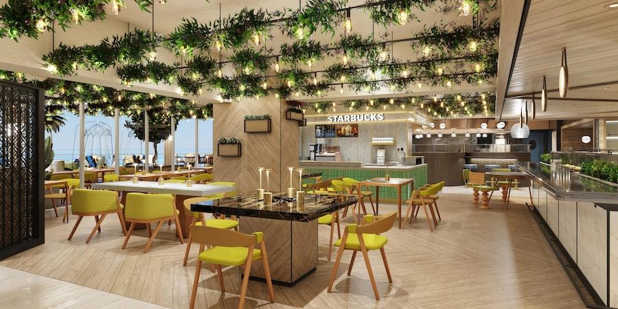 Indulge seating area & Starbucks (Image: Norwegian Cruise Line)