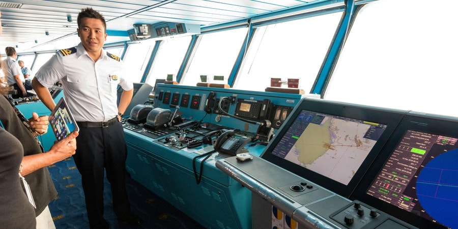 Ship officer leading a bridge tour on Legend of the Seas (Photo: Cruise Critic)