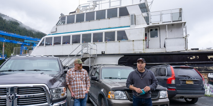 Dave Allen (right), president and co-owner of Allen Marine, at his Sitka repair facility. (Photo: Aaron Saunders)