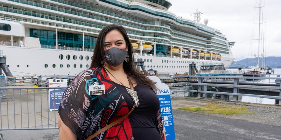 Rachel Roy, Executive Director with the Sitka Chamber of Commerce, with Serenade of the Seas on July 21, 2021. (Photo: Aaron Saunders)