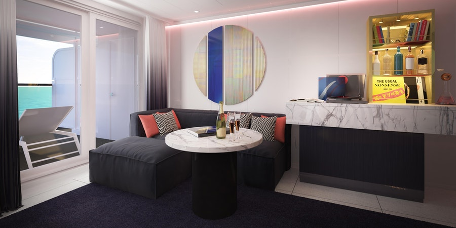 Gorgeous Suite: one of eight types of RockStar Suites onboard Virgin Voyages' Scarlet Lady (Photo: Virgin Voyages)
