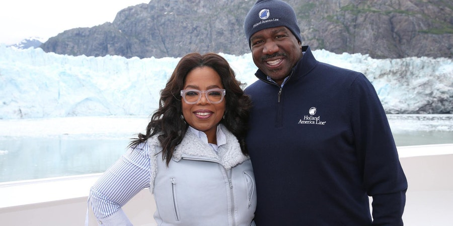 Oprah with President Orlando Ashford in Glacier Bay on board Eurodam (Photo: Holland America)