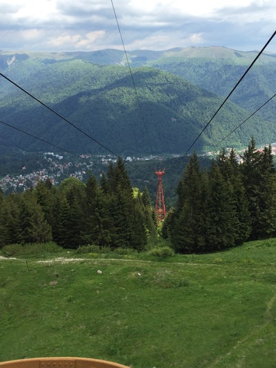 View from ride up cable car at Ski area Sinaia (Sinai)Romania