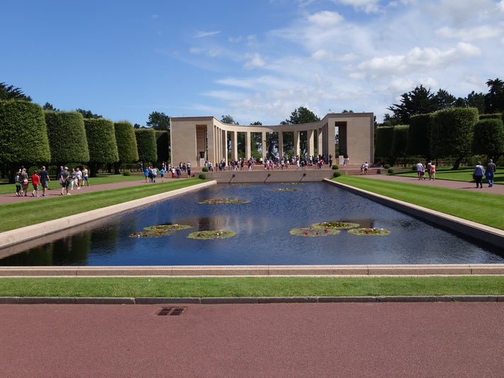 Picture looking back to the entrance of the American Cemetery above Omaha B