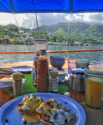 breakfast with a view onboard the ship