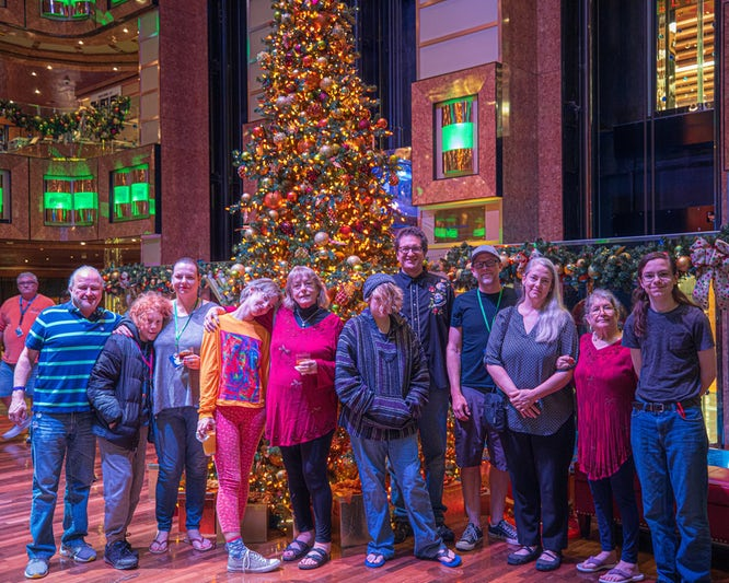 This is our whole group in front of the Christmas tree in the main lobby.