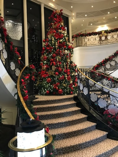 Main staircase decorated for the holidays.