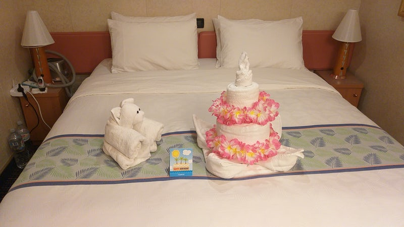 Cabin staff made a towel cake and left on the bed for my wife's birthday