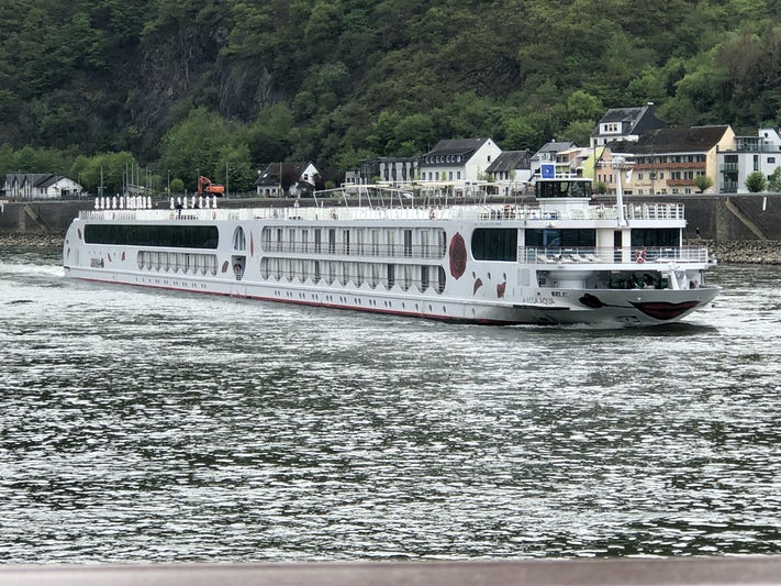 Sailing by a sister ship on the Rhine. We were waving at each other.